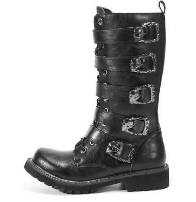 Mens Black Leather Buckle Punk Riding Military Boots Zip Combat Shoes Motorcycle