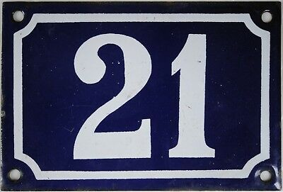 Old blue French house number 21 door gate plate plaque enamel steel metal sign