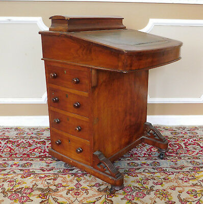 Antique 19th Century Victorian Inlaid Walnut Captains Davenport Slant Desk c1880