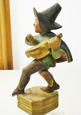 """#3B210 OLD ANRI TYPE WOOD CARVING, wandering minstrel 6"""" FAIRY TALE STYLE"""