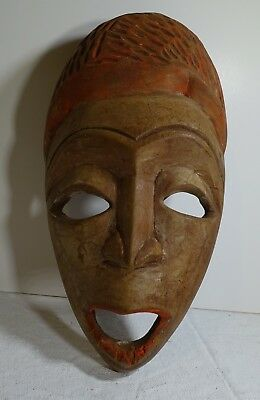 """PF7 HAITI HAND CARVED WOOD MASK, signed Ralph 10 1/2 by 5 1/2"""" AFRICAN INFLUENCE"""