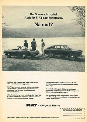 1966 Fiat 850 Coupe 850 Spider (German, 1pg.) Advertisement (AAE.597)