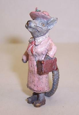 Vintage COLD PAINTED BRONZE Metal MRS MOUSE Mice/Rat MINIATURE Anthropomorphic