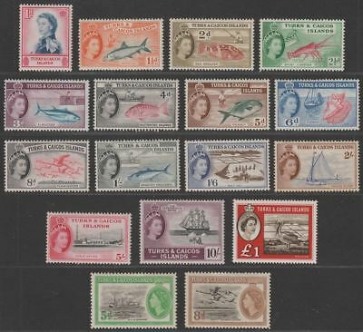 Turks and Caicos Islands 1957 Queen Elizabeth II Set Mint SG237-250 cat £120