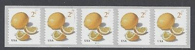 #5200, Plate Strip of 5, 2 cent Lemons, #B11111, free shipping within USA