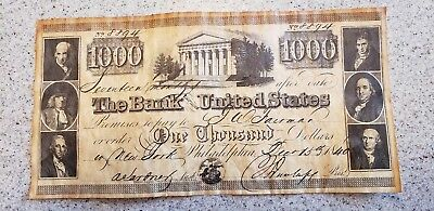1840 $1000 BANK NOTE The BANK of The UNITED STATES #8894 Original Philadelphia