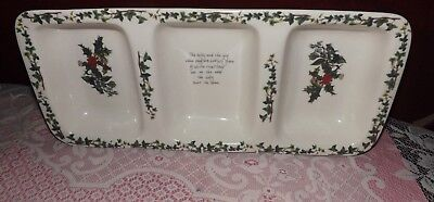 Portmeirion Holly &  Ivy Large 3 section Vegetable Dish