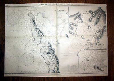 1915 Plans South Coast Papua Hall Sound Australia Australien map Karte Plan plan