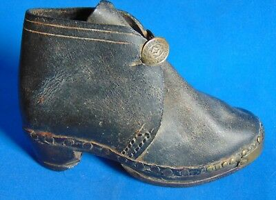 victorian  single  baby    shoe  wood carved sole  and  horshoe  heel