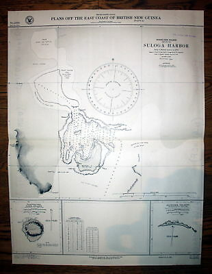 1925 Plans British New Guinea Woodlark Island Suloga Harbor Australien map Karte