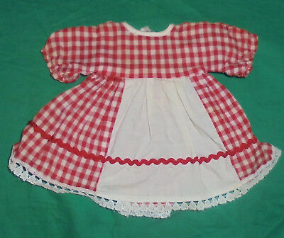 1940S 1950S VINTAGE  DOLL CLOTHES Red Checkered Dress/Apron
