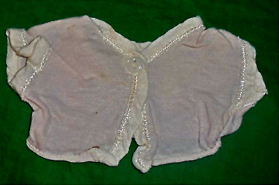 "1940S 1950S VINTAGE  DOLL CLOTHES Pink Top White Trim 9"" Chest"
