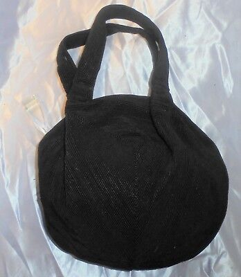 1940's  Black Art Deco  Handbag Round With Clear Lucite Dangle Never Used. Rare