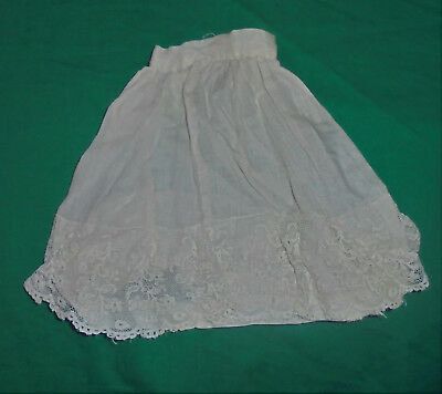 "1940S 1950S VINTAGE  DOLL CLOTHES Lace Cream Sheer Skirt 4"" Waist"