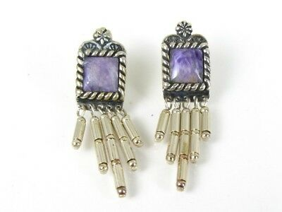 Estate Sterling Silver Carolyn Pollack Spiny Oyster Dangle Ladies Earrings 7.6g