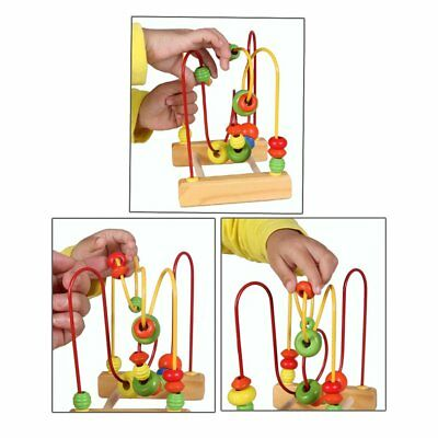 Fun Toddler Baby Colorful Wooden Mini Around Beads Wire Maze Educational Toy PA