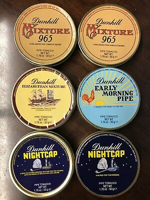 (6) Lot Dunhill Sealed Pipe Tobacco Tins