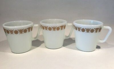 """Set of 3 Pyrex Coffee Mugs #1410 Golden Butterfly Holds 300ml 3.5"""" tall Vintage"""