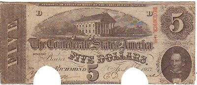 1863  $5  Confederate States Currency
