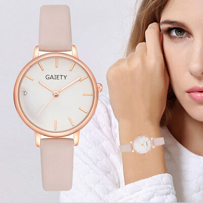Women Leather Band Analog Quartz Round Wrist Watch Watches Fashion Watches 2019