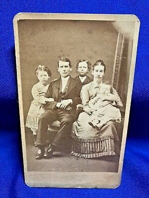 Antique Photo ~ CDV ~ Family of Five ~ Carbondale, PA