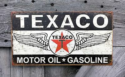 Wings of Texaco Motor Oil Gasoline Gas Texas Company Tin Metal Sign Wall Decor