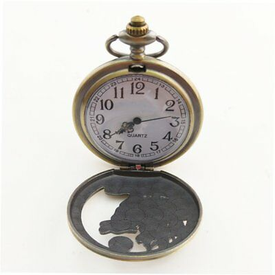 Animal Wolf Carved Vintage Antique Round Dial Quartz Pocket Watch Gifts PA