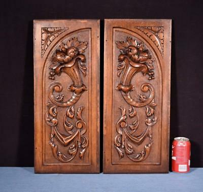 *Pair of Antique French Highly Carved Panels in Walnut Wood Salvage w/Flowers