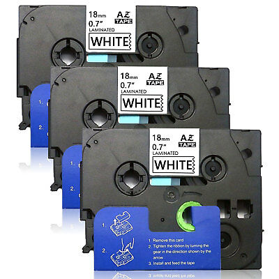 3PK TZe241 18mm Label Tape Compatible for Brother P-Touch PTD450 PTD600 D400