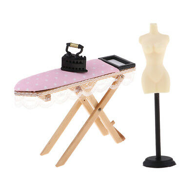 1/12 Doll House Miniature Furniture Doll Stand & Iron with Ironing Board DIY