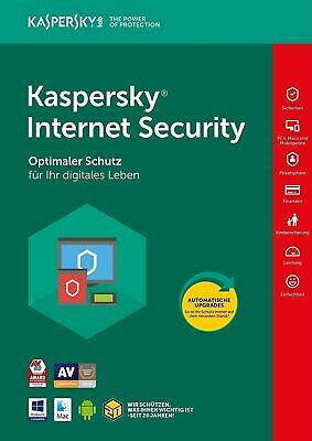 Kaspersky Internet Security 2018 / 2019 3PC / Gerät 1Jahr Vollversion Lizenz Key