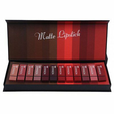 Teayason 12 Color Square Tube Sexy Red Mouth Red Fog Face Lipstick Set PA