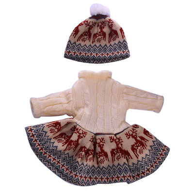 Brown Deers Sweater Dress Hat for 18'' American Girl Doll Outfit Clothes