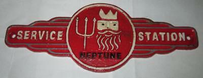 Cast Iron Service Station Plaque Neptune Gas Pump Sign Gulf Shell Oil Texaco