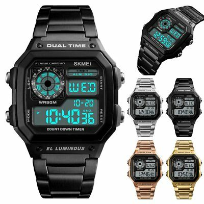Mens Digital Quartz Wrist Watch love sport Waterproof LED Gold Stainless Steel