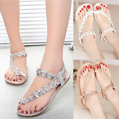 Girl Ladies Flat Sandals Flip Flops T-strap Summer Shoe Toe Post Thong Shoe Size