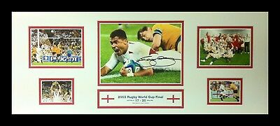FRAMED JASON ROBINSON SIGNED ENGLAND 30x12 2003 RUGBY WORLD CUP PHOTO COA PROOF