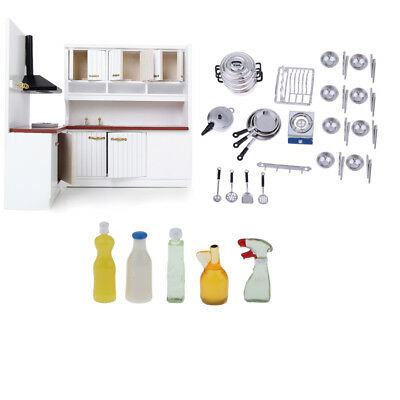 1/12 Dollhouse Miniature Kitchen Furniture Cookware Tableware Cleaning Set