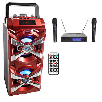 NYC Acoustics X-Tower Bluetooth Karaoke Machine System w/LED's+(2) Wireless Mics