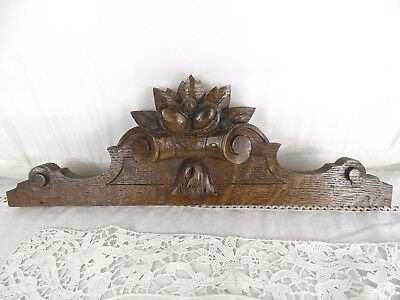 "16.5"" French Antique Pediment -Crest In Solid Oak Salvage"