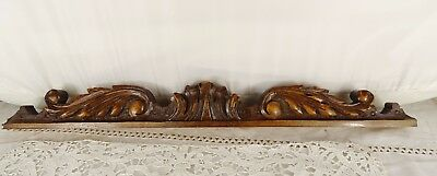 "19.5""  Antique French Hand Carved Pediment Walnut Wood - Salvage"