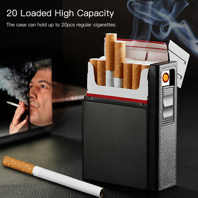 Cigarette Holder Case Box With Windproof Lighter Tobacco Detachable USB lighter