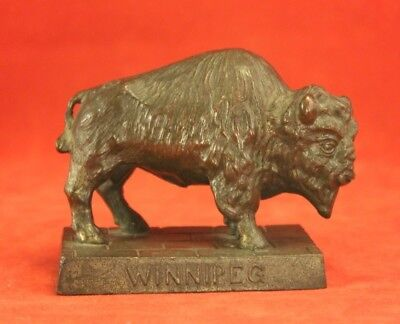 Vintage Metal Bronze Tone Buffalo Paperweight Sculpture Marked RK Co - Winnipeg