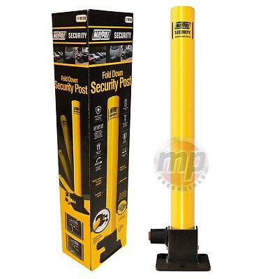 Maypole Yellow Robust Folding Fold Down Parking Security Post with Integral Lock