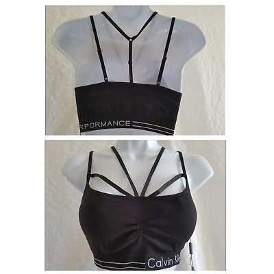 6f48c19f3e New CALVIN KLEIN Women M Medium Strappy Black Logo Sports Bra Athletic  Training