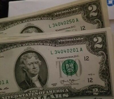 Uncirculated 2003 RARE Two Dollar Bill $2 Note Lucky consecutivenumbers fancy