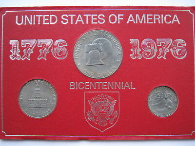 United States 1976 Bicentennial cased set of 3 coins