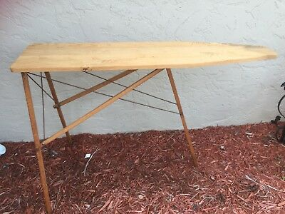 Antique Folding Wooden Ironing Board Rustic Primitive Wood 47 Inches 25645