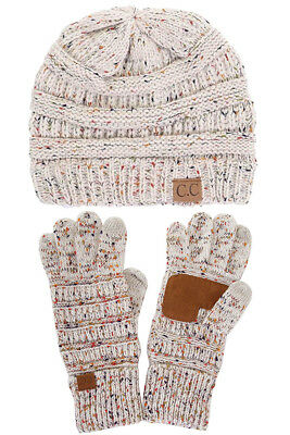 CC Trendy Confetti Soft Warm Chunky Stretch Cable Knit Beanie and Gloves SET