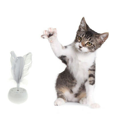Pet Cat Dog Electric Rotating Interactive Toy with Realistic Feathers